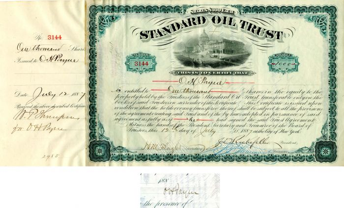 Standard Oil Trust Issued to and signed by O.H. Payne  - SOLD
