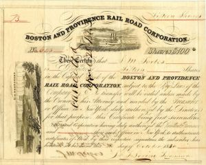 Boston and Providence Rail Road Corporation Issued to John M. Forbes