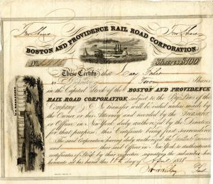 Boston and Providence Rail Road Corporation Issued to Lucy Forbes