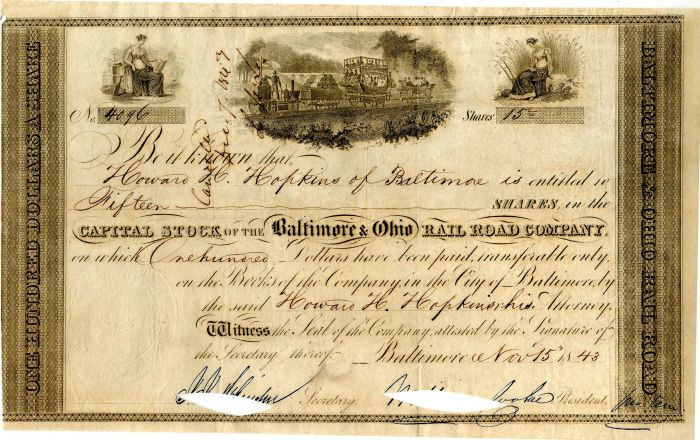 Baltimore and Ohio Rail Road Company Issued to Howard H. Hopkins