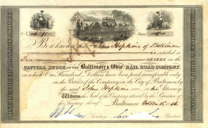 Baltimore and Ohio Rail Road Company Issued to Johns Hopkins - Stock Certificate