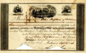 Baltimore & Ohio Rail Road Company Issued to Johns Hopkins