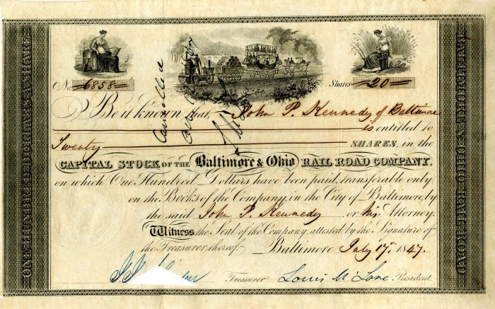 Baltimore & Ohio Rail Road Company signed by Louis McLane
