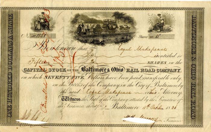 Baltimore & Ohio Rail Road Company Issued to Royal Makepeace