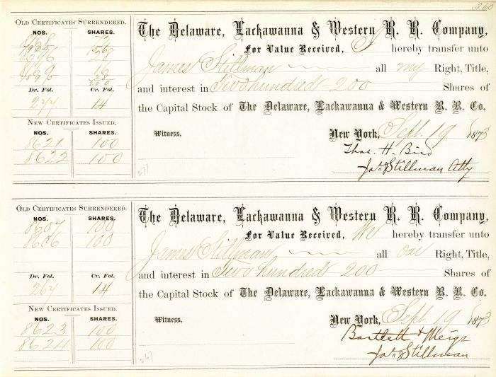 Delaware, Lackawanna & Western R.R. Company Issued to and Signed by James Stillman