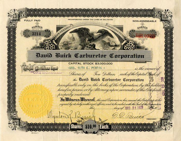 David Buick Carburetor Corporation signed by D.D. Buick