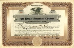 Peoples Amusement Company Issued to George M. Cohan