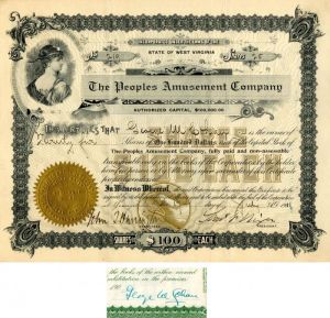 Peoples Amusement Company Issued to and signed by George M. Cohan