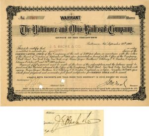 Baltimore and Ohio Railroad Company signed by J.S. Bache for company