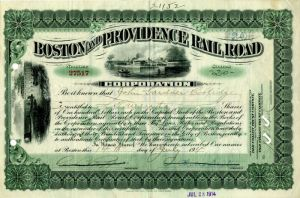 Boston and Providence Rail Road Corporation Issued to John Gardner Coolidge