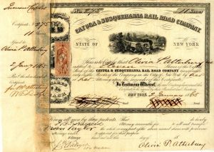 Cayuga & Susquehanna Rail Road Company Signed by Wm. E. Dodge - SOLD