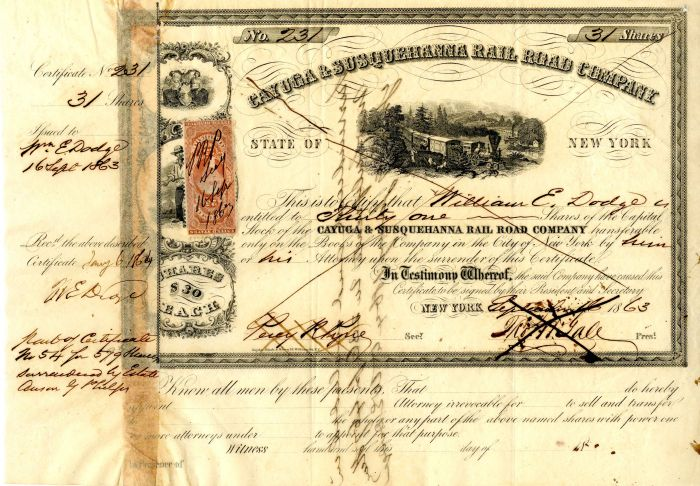 Cayuga & Susquehanna Rail Road Company Issued to and signed by Wm. E. Dodge