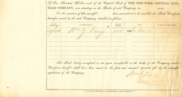 New York Central Railroad Company Signed by Wm. G. Fargo