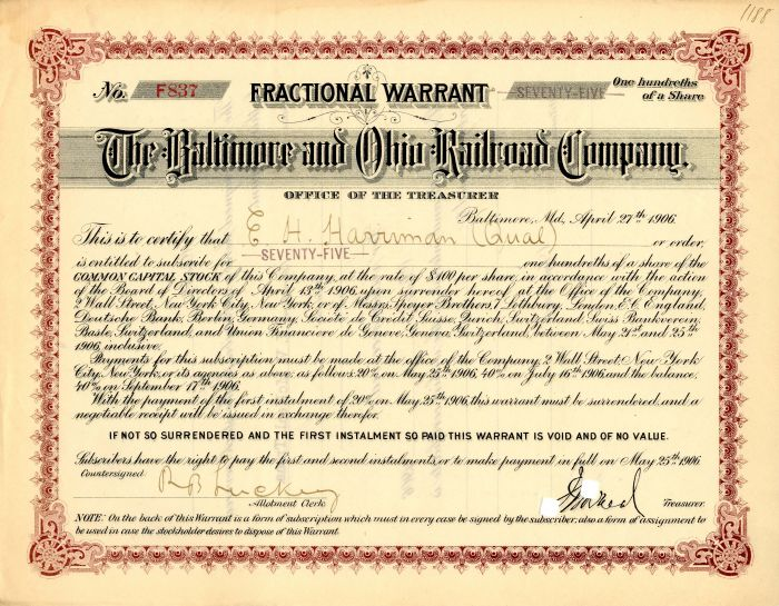 Baltimore and Ohio Railroad Company Issued to E.H. Harriman
