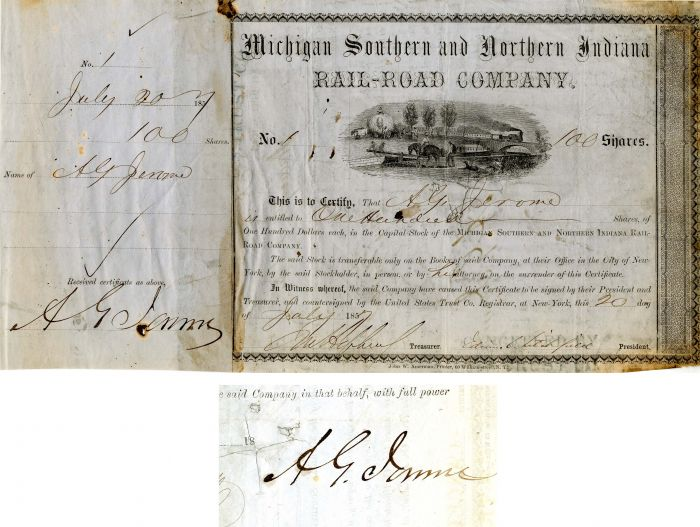 Michigan Southern and Northern Indiana Rail-Road Company Issued to and Signed by A.G. Jerome - SOLD