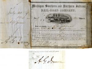 Michigan Southern and Northern Indiana Rail-Road Company Issued to and Signed by A.G. Jerome