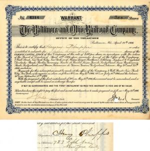 Baltimore and Ohio Railroad Company signed by Henry Phipps