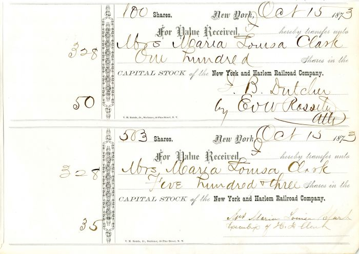New York and Harlem Railroad Company Stock signed by E.V.W. Rossiter
