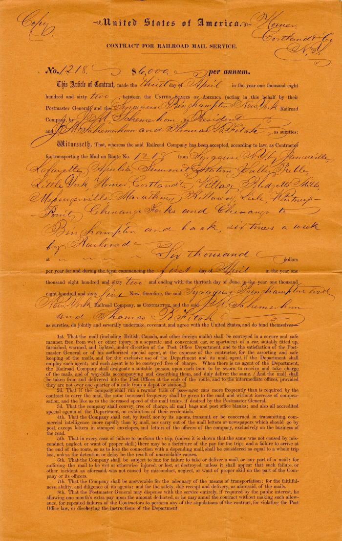 Contract signed by J.M. Schermerhorn