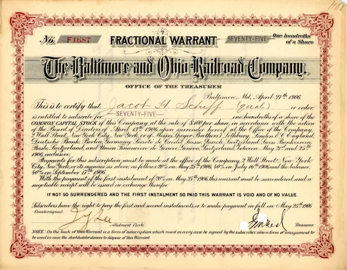 Baltimore and Ohio Railroad Company signed by Jacob H. Schiff - SOLD