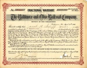 Baltimore and Ohio Railroad Company signed by Jacob H. Schiff
