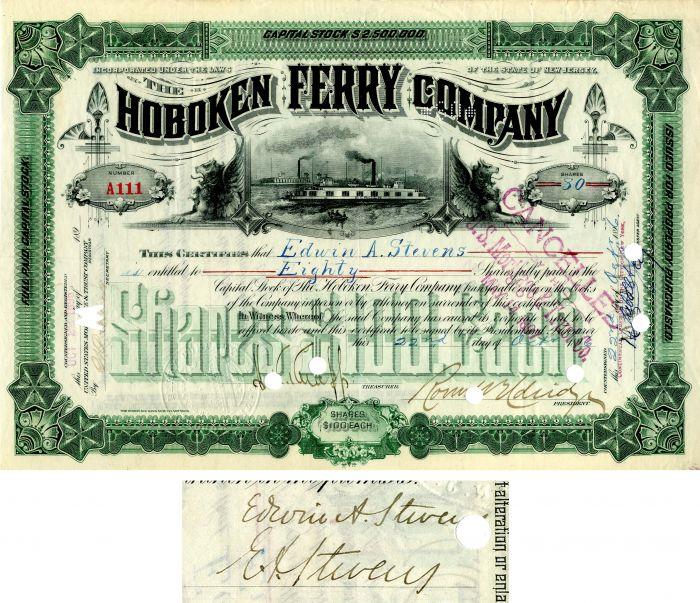 Hoboken Ferry Company signed by Edwin A. Stevens - SOLD