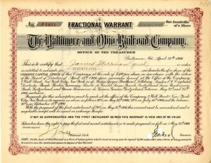 Baltimore and Ohio Railroad Company Issued to James Stillman - SOLD