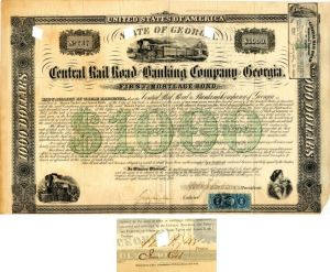 Central Rail Road and Banking Company of Georgia signed by Moses Taylor - SOLD
