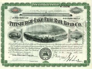 Pittsburgh and Lake Erie Railroad Co. issued to Gladys, Countess Laszlo Szechenyi  (Vanderbilt)