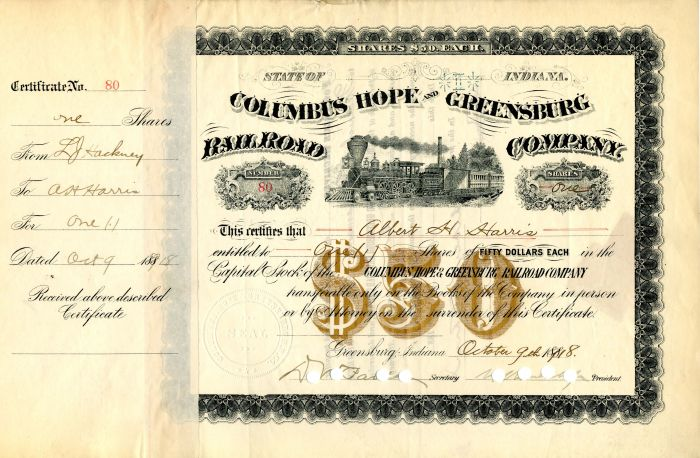 Columbus Hope and Greensburg Railroad Company signed by Wm. K. Vanderbilt Jr.