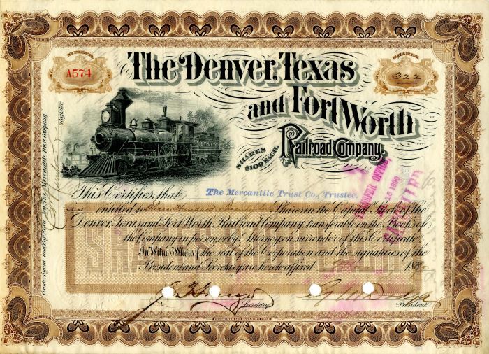 Denver, Texas and Fort Worth Railroad Company signed by G.M. Dodge
