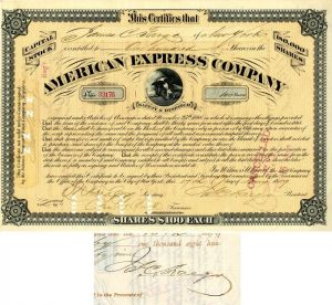 American Express Company Issued to and signed by James C. Fargo