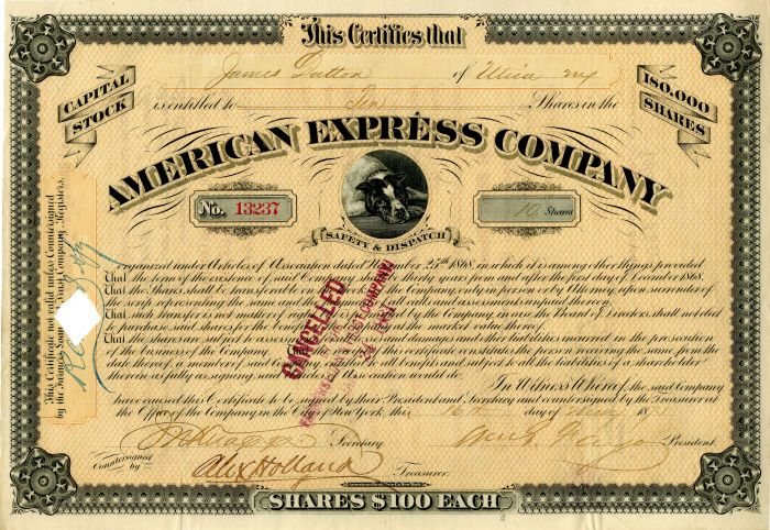 American Express Company Signed by Wm. G. Fargo