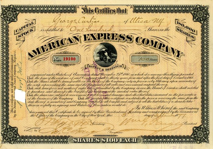 American Express Company Signed by James C. and Wm. G. Fargo