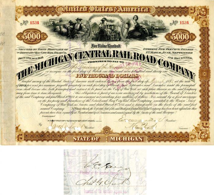 Michigan Central Railroad Company Signed by James C. Fargo