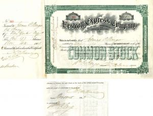 Westcott Express Company Signed by James C. and Wm. C. Fargo