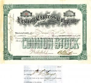 Westcott Express Company Signed by  Wm. C. Fargo