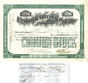 Westcott Express Company Issued to and Signed by Francis F. Flagg
