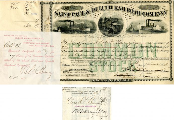 Saint Paul & Duluth Railroad Company Issued to and Signed by Charles D. Barney