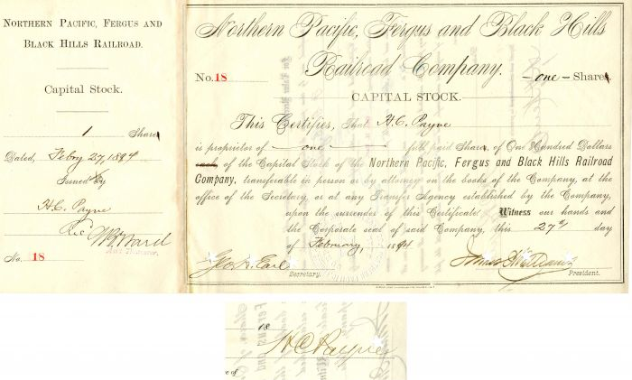 Northern Pacific, Fergus and Black Hills Railroad Company signed by Henry C. Payne