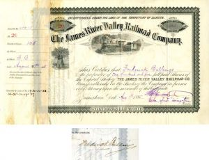 James River Valley Railroad Company signed by Billings, Merriam, and Livingston