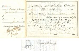 Jamestown and Northern Extension Railroad Company Issued to and Signed by Frederick Billings