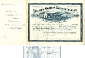 Duluth & Manitoba Railroad Company Issued to and Signed by Frederick Billings