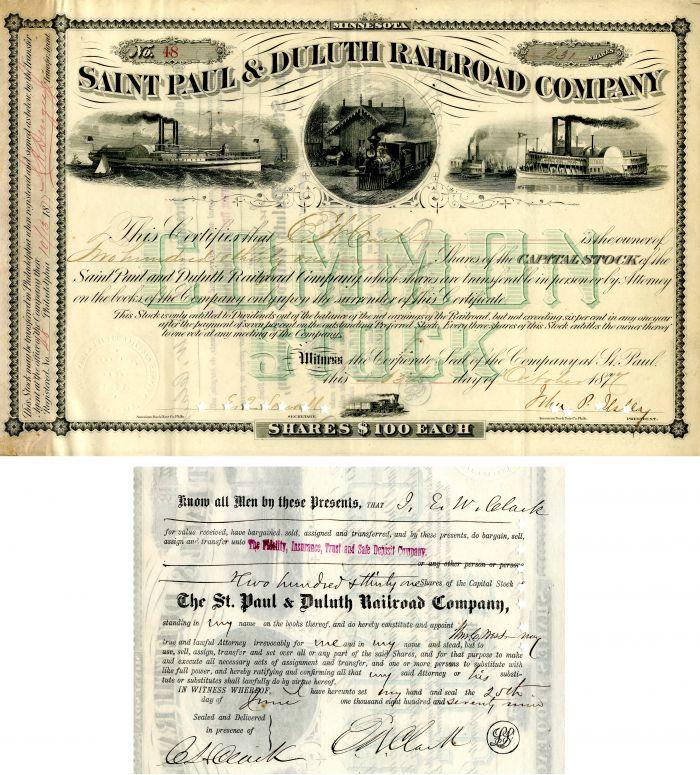 Saint Paul & Duluth Railroad Company Issued to E.W. Clark