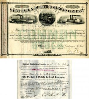 Saint Paul & Duluth Railroad Company Issued to E.W. Clark