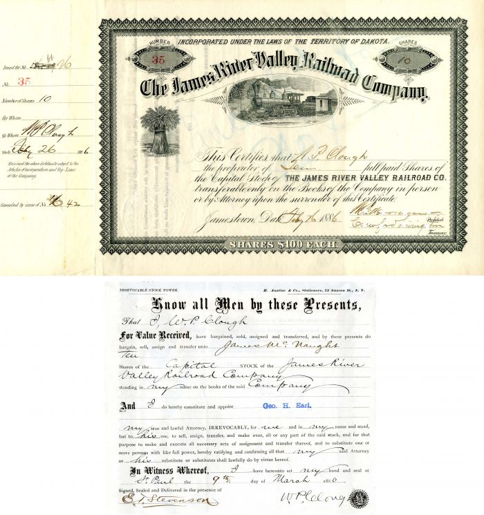 James River Valley Railroad Company signed by Clough, Merriam and Livingston