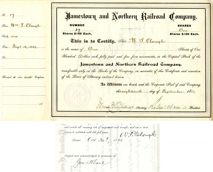 Jamestown and Northern Railroad Company issued to and signed by W. P. Clough and Geo. Earle