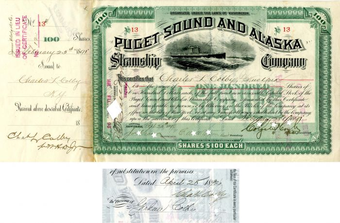 Puget Sound and Alaska Steamship Company issued to and signed by Charles L. Colby and Gardner Colby- Stock Certificate