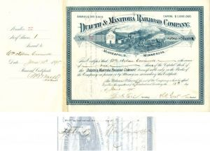 Duluth & Manitoba Railroad Company Issued to and Signed by Wm. Nelson Cromwell