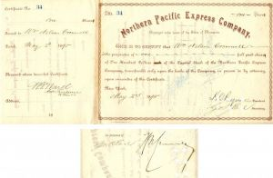 Northern Pacific Express Company Issued to and Signed by Wm. Nelson Cromwell